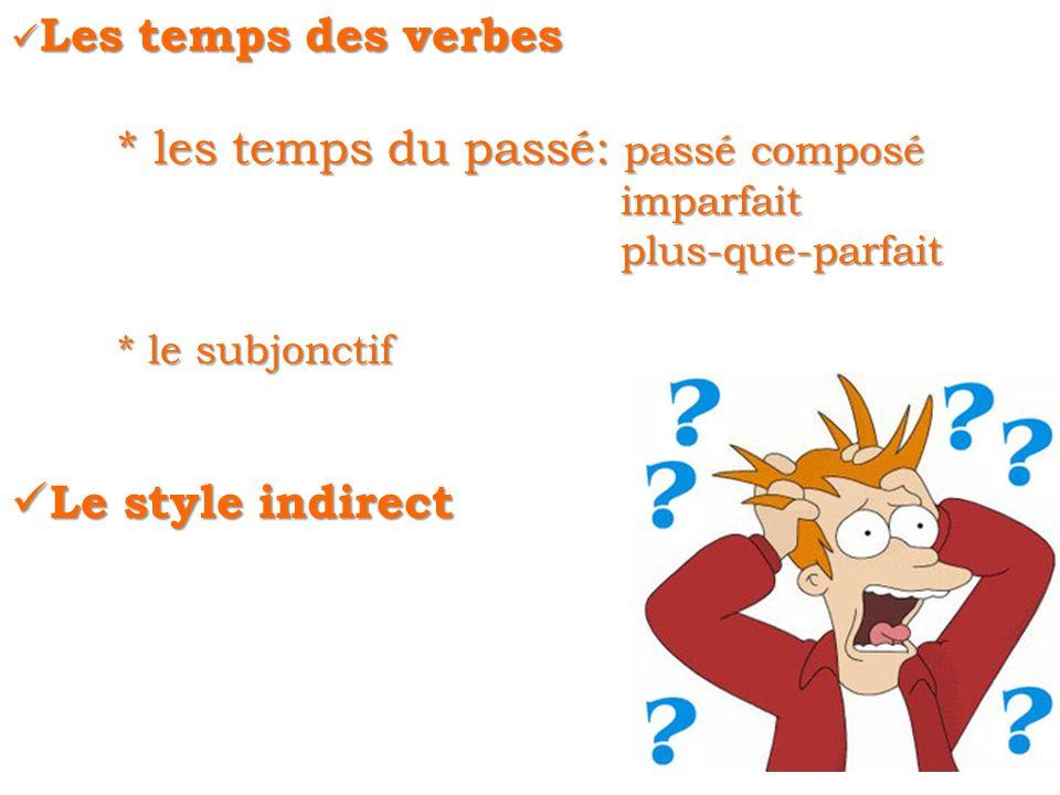 Les temps des verbes Les temps des verbes * les temps du passé: passé composé imparfait imparfait plus-que-parfait plus-que-parfait * le subjonctif Le