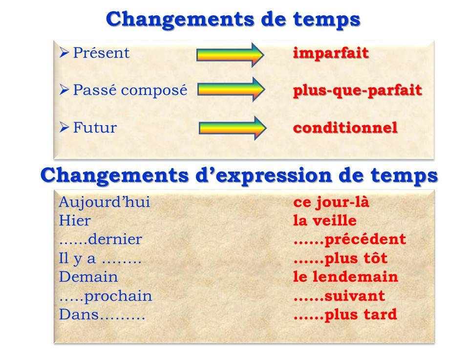 Changements de temps imparfait  Présent imparfait plus-que-parfait  Passé composé plus-que-parfait conditionnel  Futur conditionnel imparfait  Pré