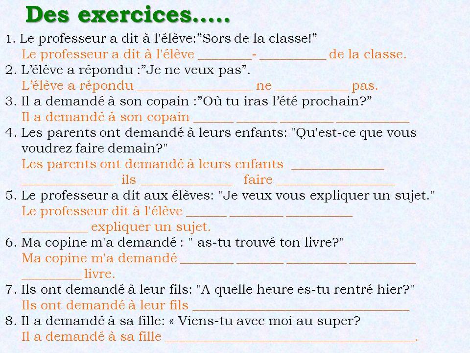 """Des exercices….. 1. Le professeur a dit à l'élève:""""Sors de la classe!"""" Le professeur a dit à l'élève ________- __________ de la classe. 2. L'élève a r"""