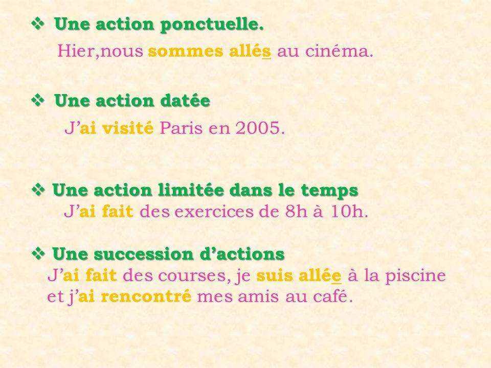  Une action ponctuelle.  Une action datée J' ai visité Paris en 2005. Hier,nous sommes allés au cinéma.  Une action limitée dans le temps J' ai fai