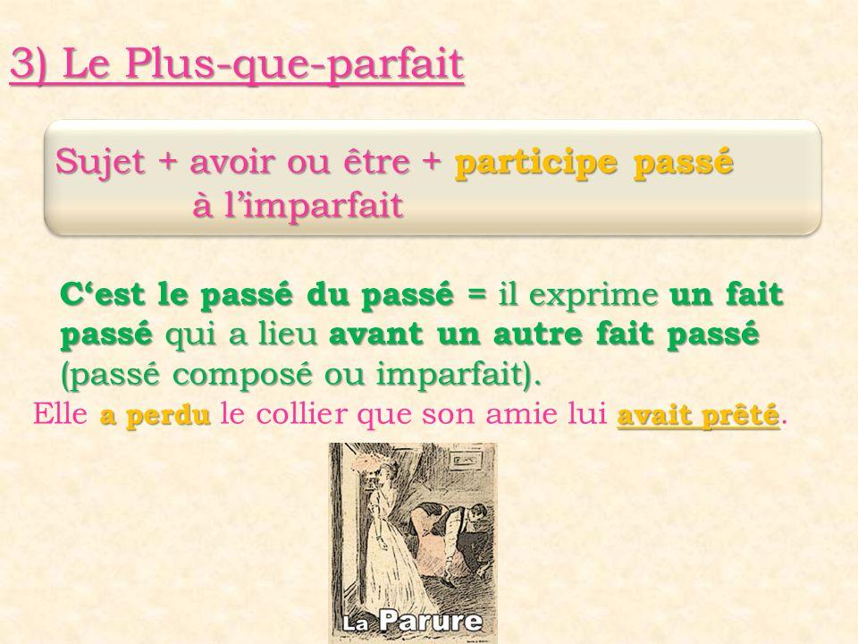 3) Le Plus-que-parfait Sujet + avoir ou être + participe passé Sujet + avoir ou être + participe passé à l'imparfait à l'imparfait C'est le passé du p