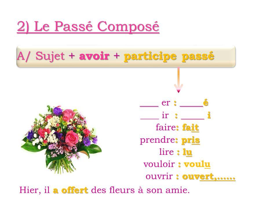 2) Le Passé Composé A/ Sujet + avoir + participe passé ____ : _____é ____ er : _____é : _____ i ____ ir : _____ i : fait faire : fait : pris prendre : pris : lu lire : lu : vouloir : voulu : ouvert,…… ouvrir : ouvert,…… a offert Hier, il a offert des fleurs à son amie.