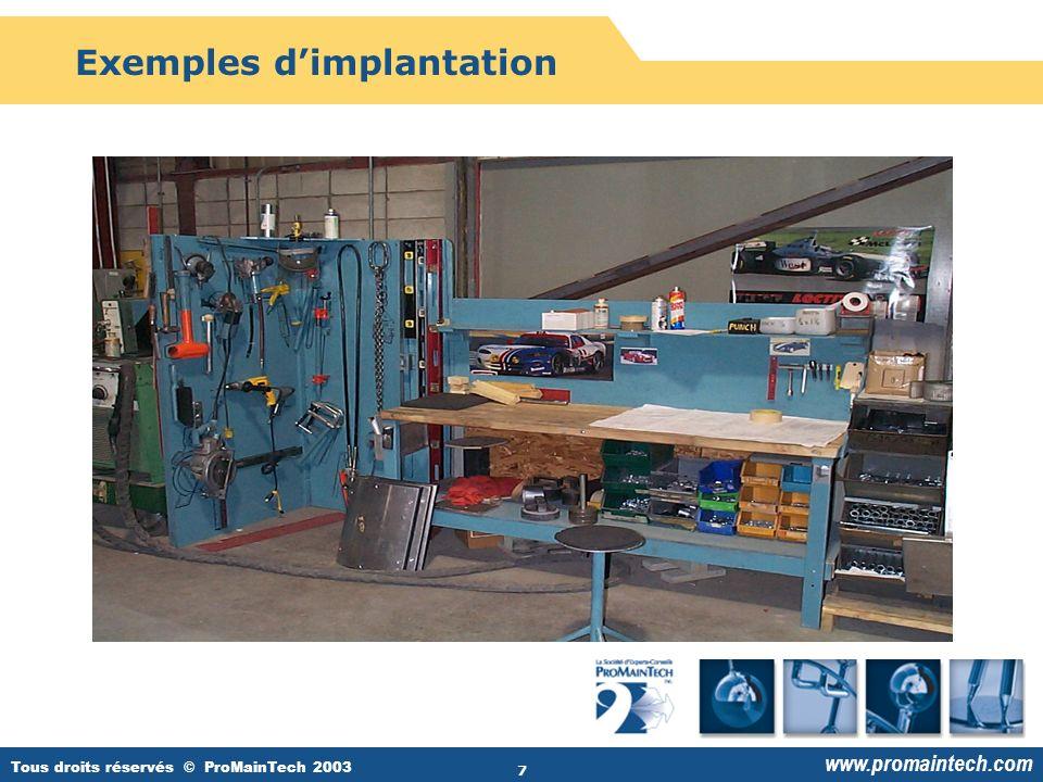 Tous droits réservés © ProMainTech 2003 www.promaintech.com 7 Exemples d'implantation