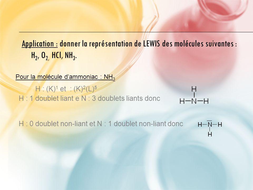 Application : donner la représentation de LEWIS des molécules suivantes : H 2, O 2, HCl, NH 3.