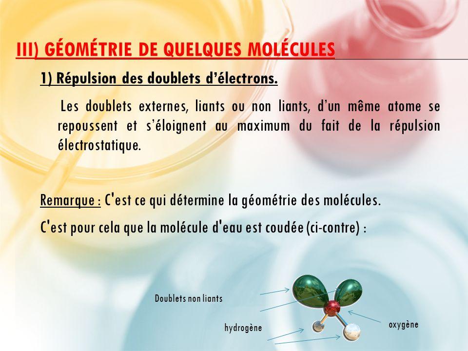 III) GÉOMÉTRIE DE QUELQUES MOLÉCULES 1) Répulsion des doublets d'électrons.