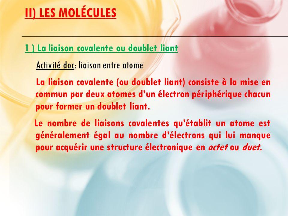 II) LES MOLÉCULES 1 ) La liaison covalente ou doublet liant Activité doc: liaison entre atome La liaison covalente (ou doublet liant) consiste à la mise en commun par deux atomes d'un électron périphérique chacun pour former un doublet liant.