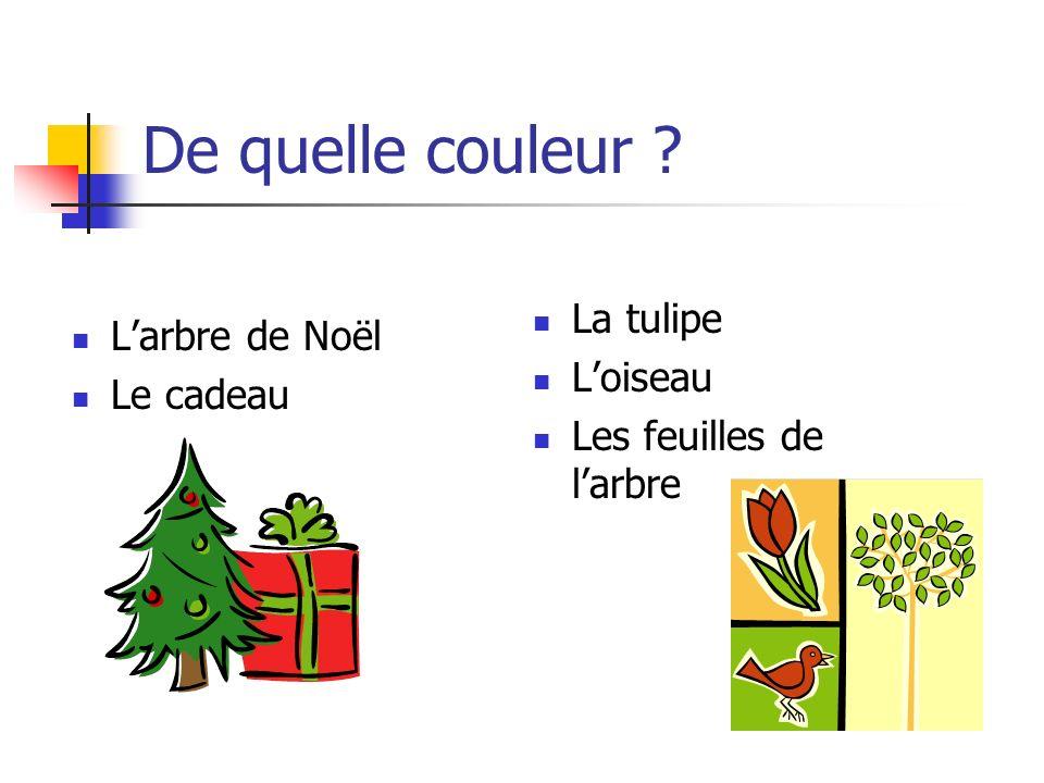 De quelle couleur ? L'arbre de Noël Le cadeau La tulipe L'oiseau Les feuilles de l'arbre