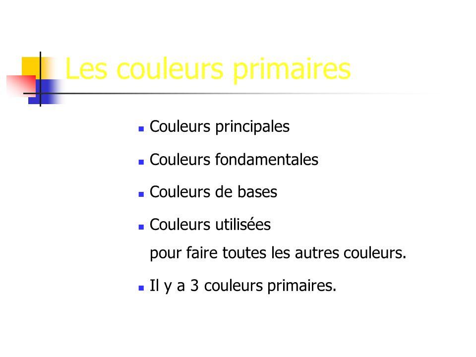 Les couleurs primaires Couleurs principales Couleurs fondamentales Couleurs de bases Couleurs utilisées pour faire toutes les autres couleurs.