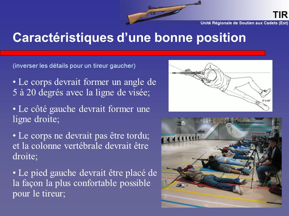 Caractéristiques d'une bonne position (inverser les détails pour un tireur gaucher) Le corps devrait former un angle de 5 à 20 degrés avec la ligne de