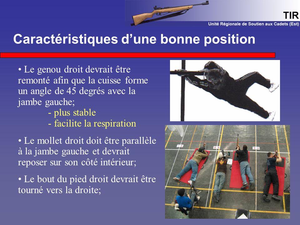 Caractéristiques d'une bonne position Le genou droit devrait être remonté afin que la cuisse forme un angle de 45 degrés avec la jambe gauche; - plus stable - facilite la respiration Le mollet droit doit être parallèle à la jambe gauche et devrait reposer sur son côté intérieur; Le bout du pied droit devrait être tourné vers la droite;