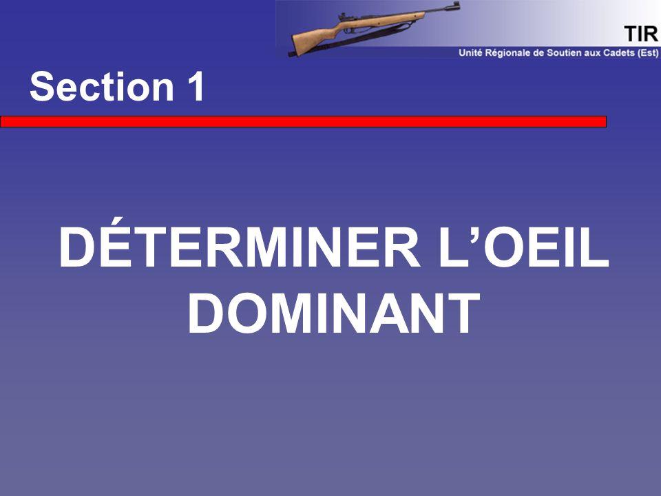 Section 1 DÉTERMINER L'OEIL DOMINANT