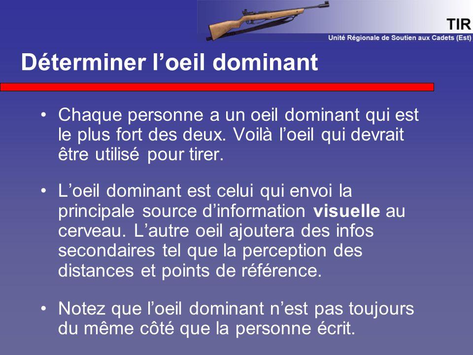 Déterminer l'oeil dominant Chaque personne a un oeil dominant qui est le plus fort des deux. Voilà l'oeil qui devrait être utilisé pour tirer. L'oeil