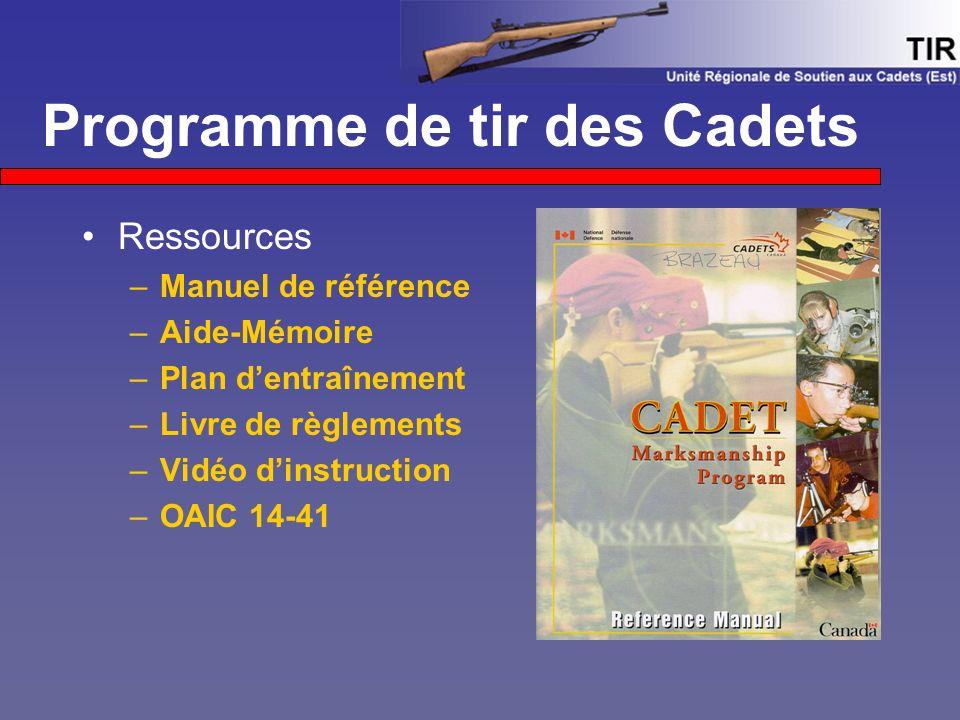 Programme de tir des Cadets Ressources –Manuel de référence –Aide-Mémoire –Plan d'entraînement –Livre de règlements –Vidéo d'instruction –OAIC 14-41