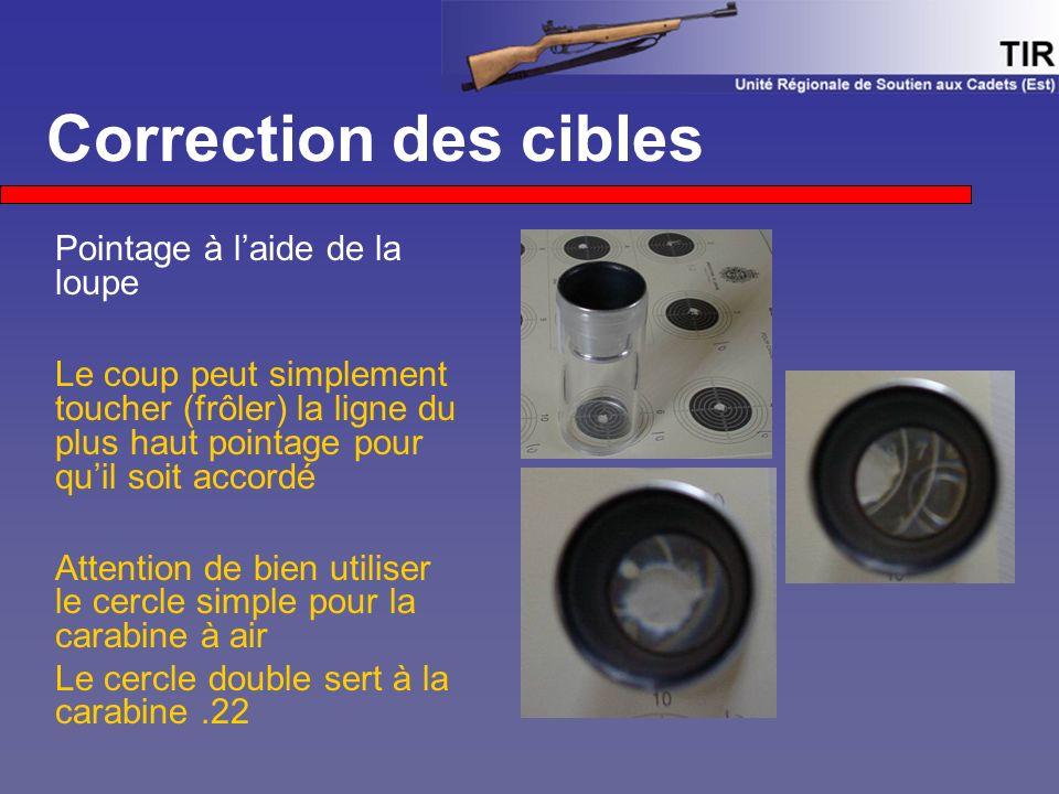 Correction des cibles Pointage à l'aide de la loupe Le coup peut simplement toucher (frôler) la ligne du plus haut pointage pour qu'il soit accordé At