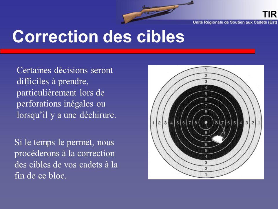Correction des cibles Si le temps le permet, nous procéderons à la correction des cibles de vos cadets à la fin de ce bloc. Certaines décisions seront