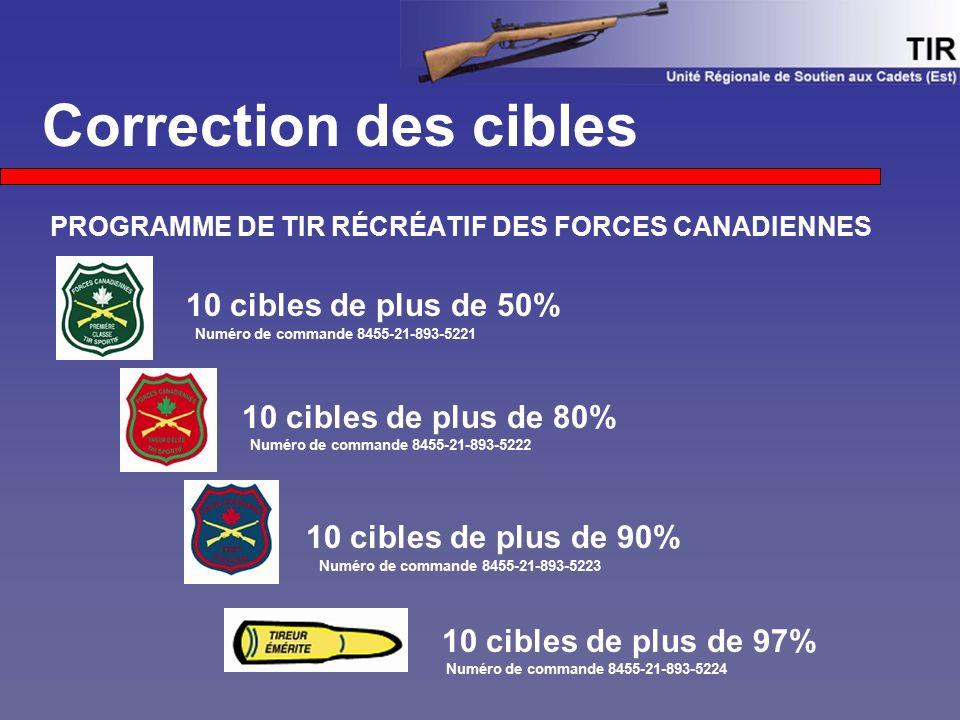 Correction des cibles PROGRAMME DE TIR RÉCRÉATIF DES FORCES CANADIENNES 10 cibles de plus de 50% Numéro de commande 8455-21-893-5221 10 cibles de plus de 80% Numéro de commande 8455-21-893-5222 10 cibles de plus de 90% Numéro de commande 8455-21-893-5223 10 cibles de plus de 97% Numéro de commande 8455-21-893-5224