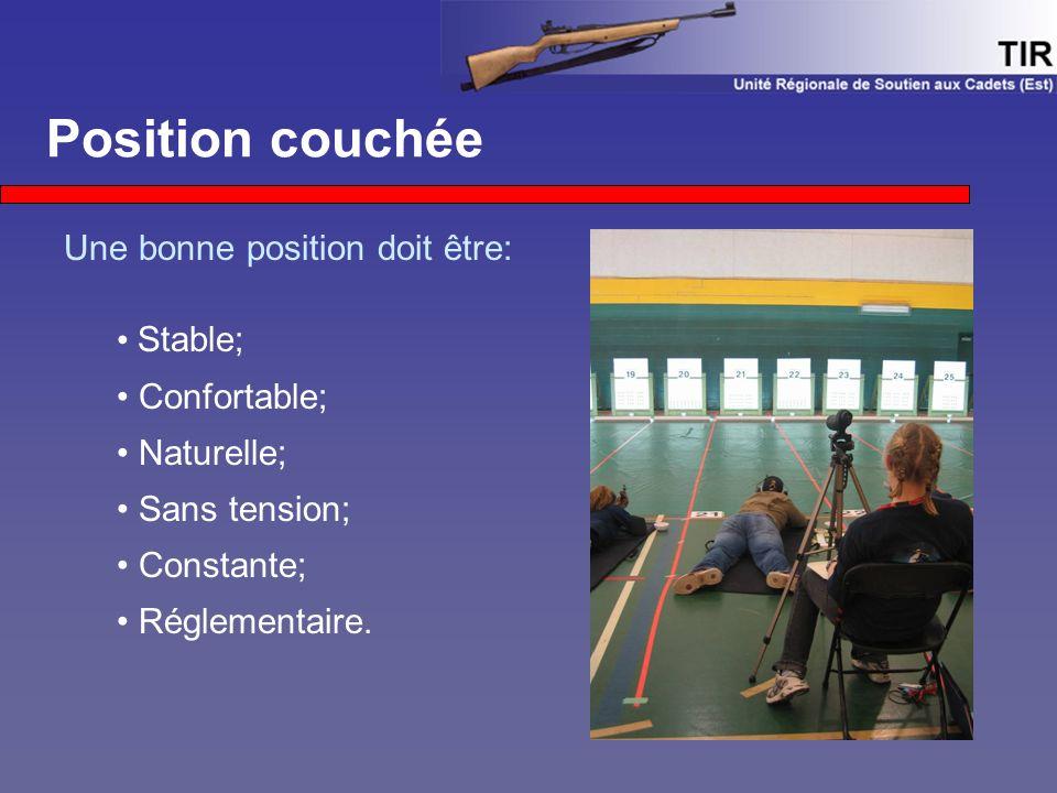 Position couchée Une bonne position doit être: Stable; Confortable; Naturelle; Sans tension; Constante; Réglementaire.