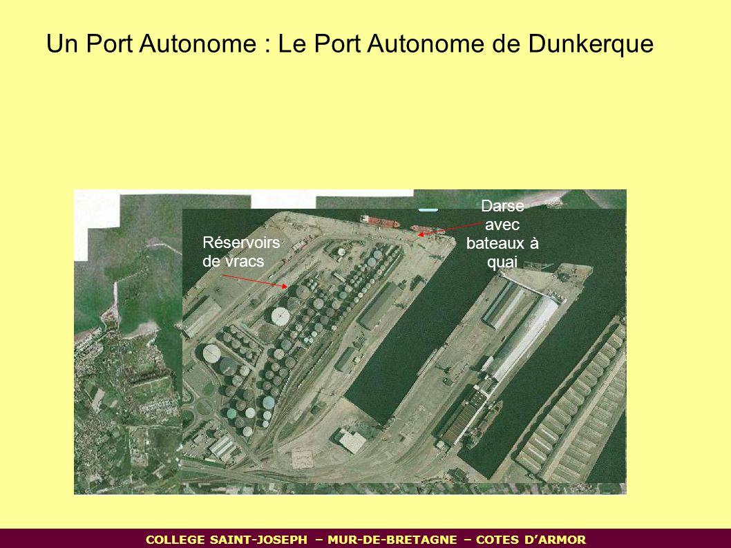 Un Port Autonome : Le Port Autonome de Dunkerque Darse avec bateaux à quai Réservoirs de vracs COLLEGE SAINT-JOSEPH – MUR-DE-BRETAGNE – COTES D'ARMOR