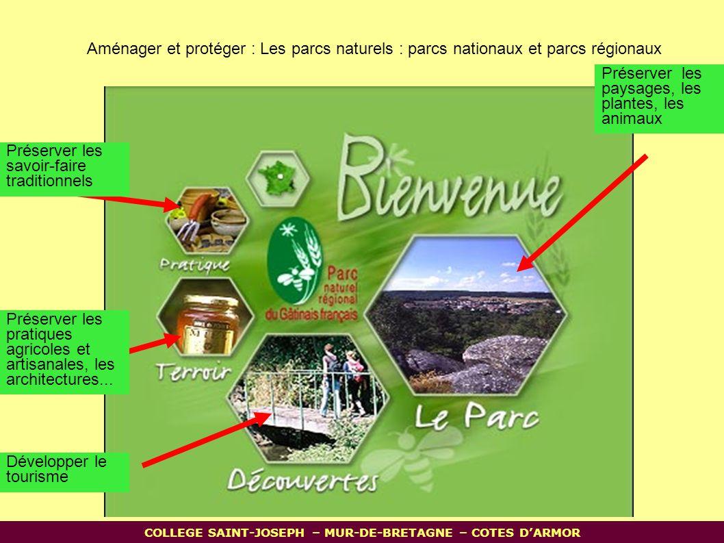Aménager et protéger : Les parcs naturels : parcs nationaux et parcs régionaux Préserver les paysages, les plantes, les animaux Préserver les pratiques agricoles et artisanales, les architectures...