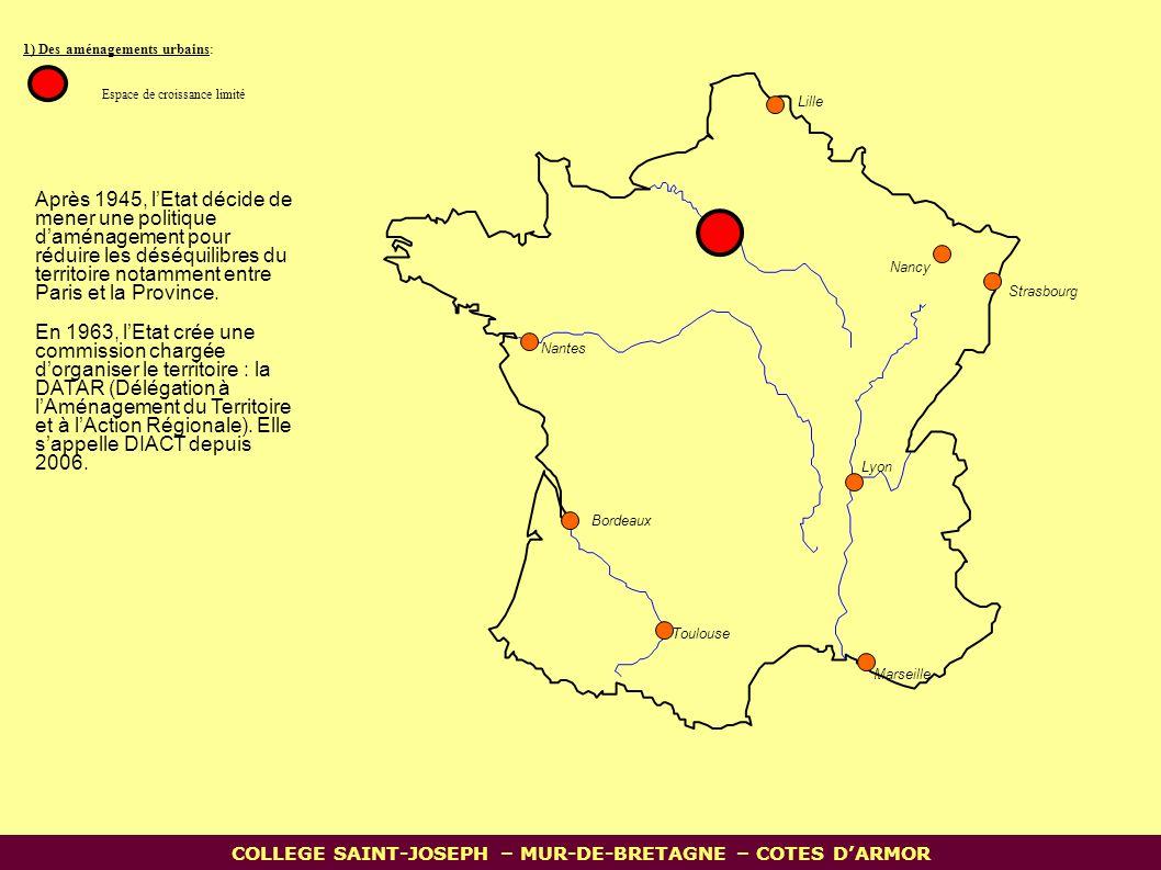 1) Des aménagements urbains: Espace de croissance limité Nantes Lille Bordeaux Toulouse Marseille Lyon Strasbourg Nancy COLLEGE SAINT-JOSEPH – MUR-DE-BRETAGNE – COTES D'ARMOR Après 1945, l'Etat décide de mener une politique d'aménagement pour réduire les déséquilibres du territoire notamment entre Paris et la Province.