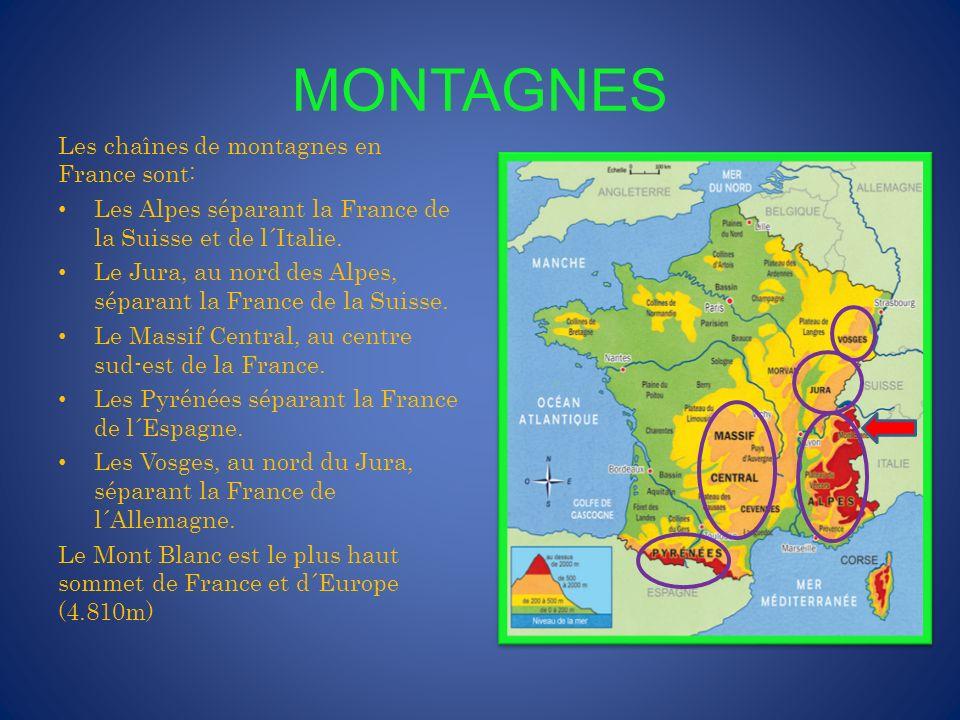 FRONTIÈRES TERRESTRES Les côtés terrestres sont: Au nord: la Belgique et le Luxembourg À l´est: l´Allemagne, la Suisse et l´Italie Au sud: Monaco, Andorre et l´Espagne.