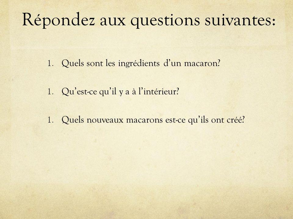 Répondez aux questions suivantes: 1. Quels sont les ingrédients d'un macaron.
