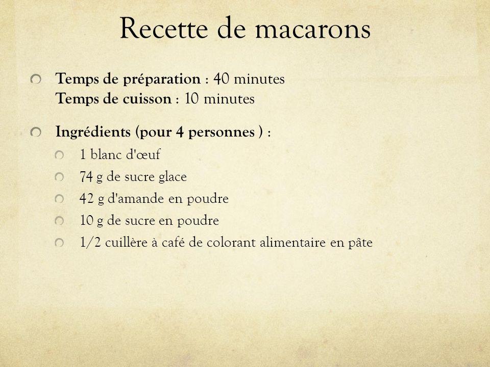 Recette de macarons Temps de préparation : 40 minutes Temps de cuisson : 10 minutes Ingrédients (pour 4 personnes ) : 1 blanc d œuf 74 g de sucre glace 42 g d amande en poudre 10 g de sucre en poudre 1/2 cuillère à café de colorant alimentaire en pâte