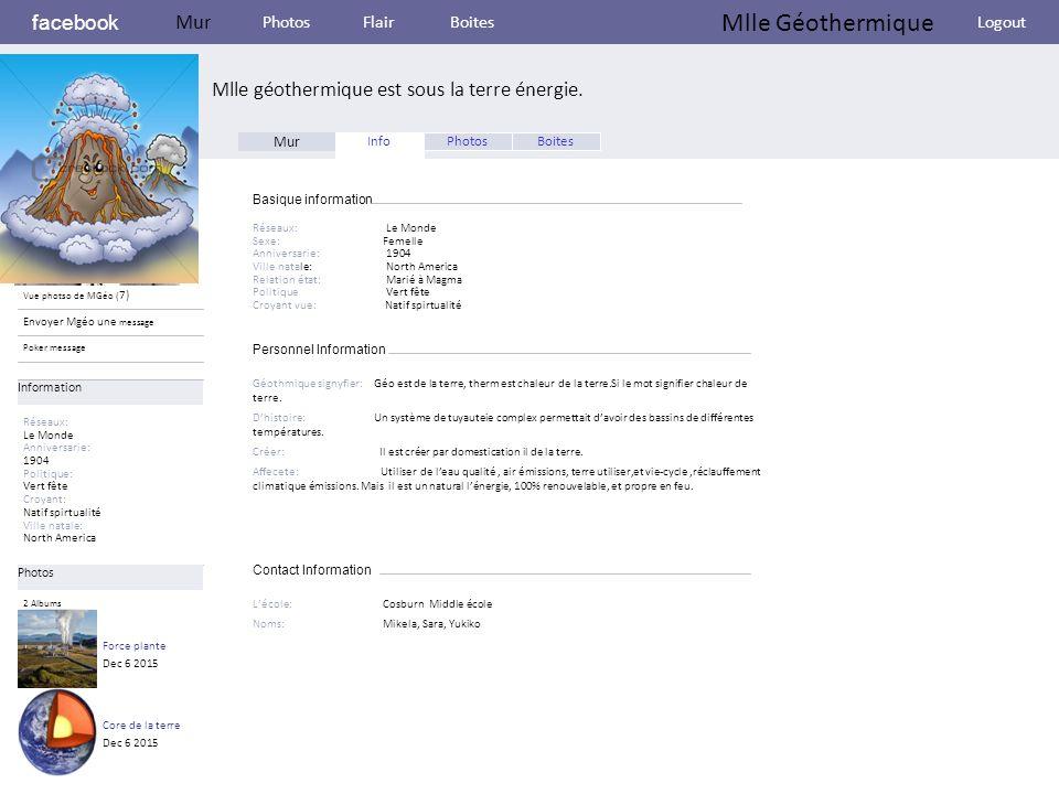 Personnel Information facebook Mlle géothermique est sous la terre énergie.
