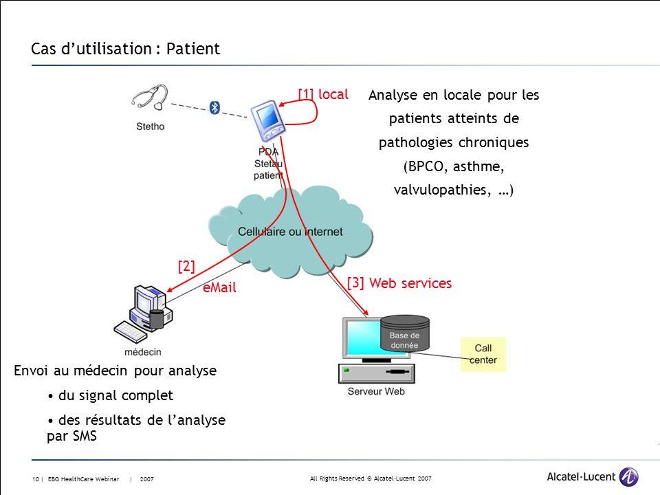All Rights Reserved © Alcatel-Lucent 2007 9 | EBG HealthCare Webinar | 2007 Cas d'utilisation