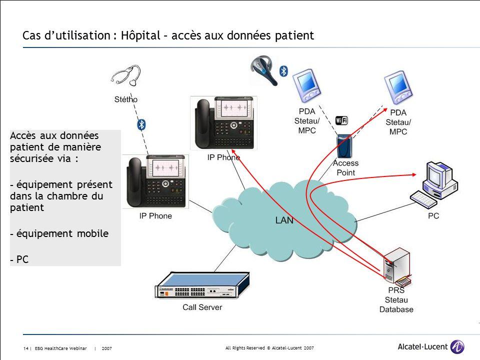 All Rights Reserved © Alcatel-Lucent 2007 13 | EBG HealthCare Webinar | 2007 Cas d'utilisation : Hôpital – archivage Stockage dans la base de donnée Accès sécurisé à la base de donnée Le médecin identifié et localisé Webservices