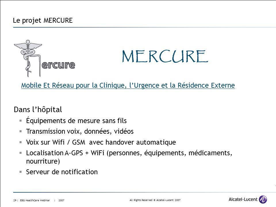 All Rights Reserved © Alcatel-Lucent 2007 28 | EBG HealthCare Webinar | 2007 Le projet EPIDAURE