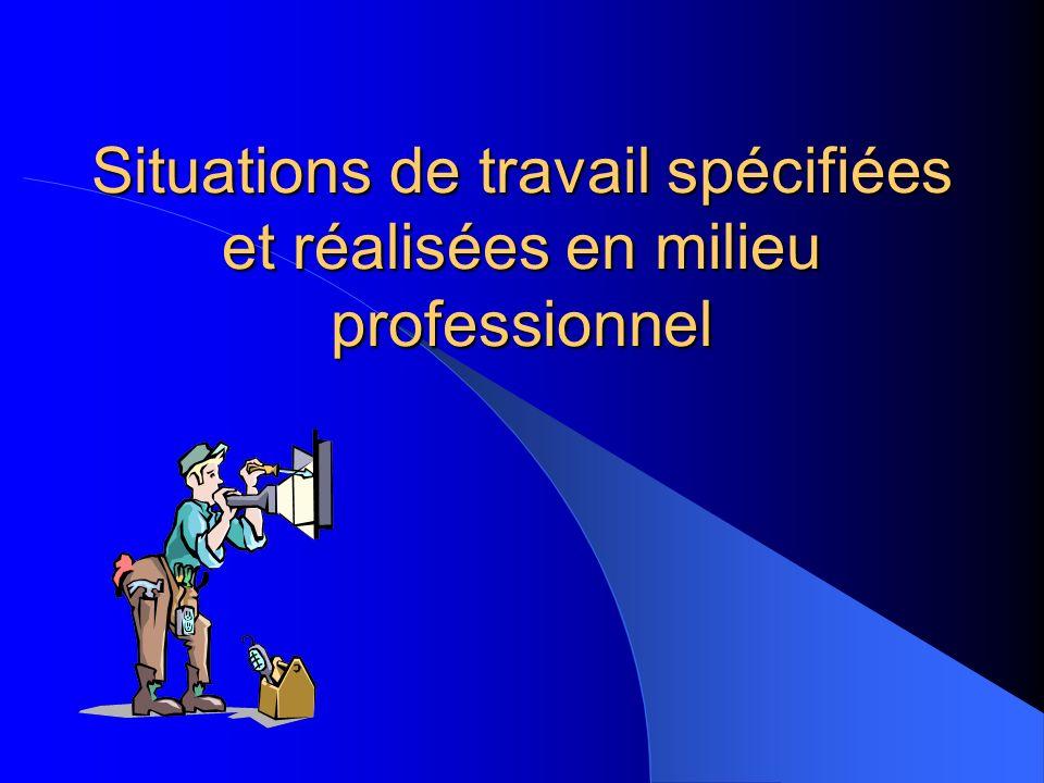 Situations de travail spécifiées et réalisées en milieu professionnel