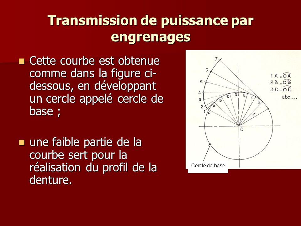Transmission de puissance par engrenages Cette courbe est obtenue comme dans la figure ci- dessous, en développant un cercle appelé cercle de base ; Cette courbe est obtenue comme dans la figure ci- dessous, en développant un cercle appelé cercle de base ; une faible partie de la courbe sert pour la réalisation du profil de la denture.