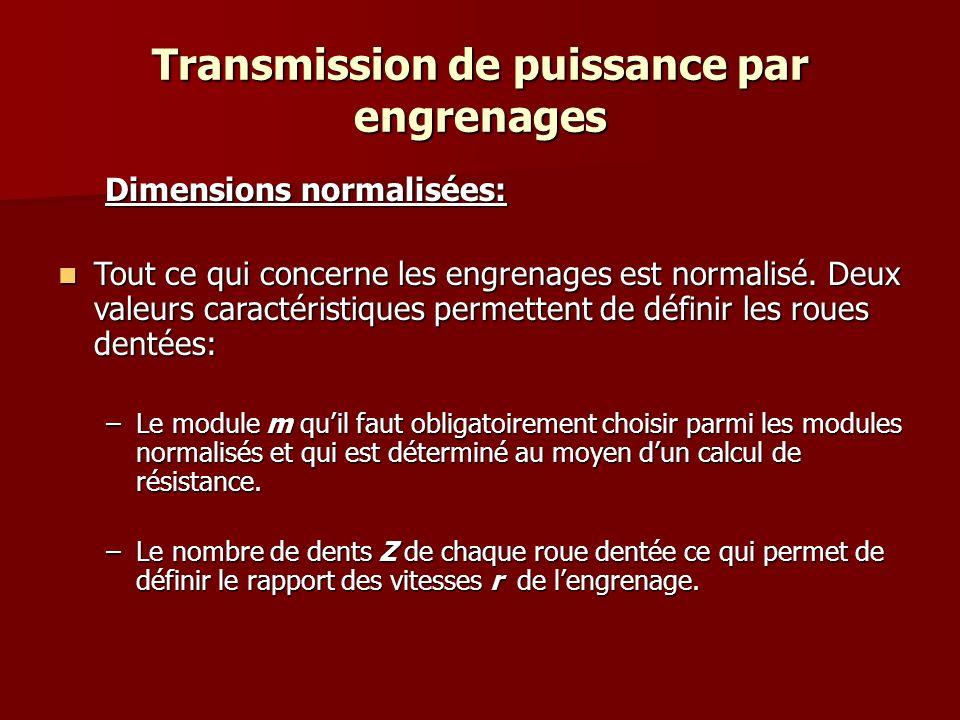 Transmission de puissance par engrenages Module m Les valeurs du module m sont normalisées.