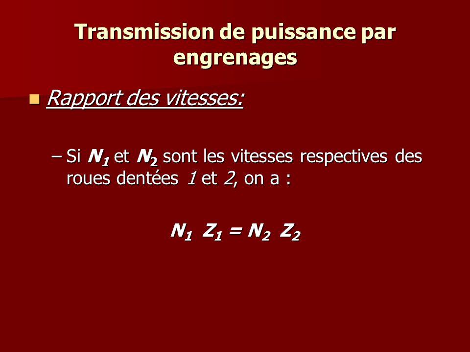 Transmission de puissance par engrenages Rapport des vitesses: Rapport des vitesses: –Si N 1 et N 2 sont les vitesses respectives des roues dentées 1 et 2, on a : N 1 Z 1 = N 2 Z 2