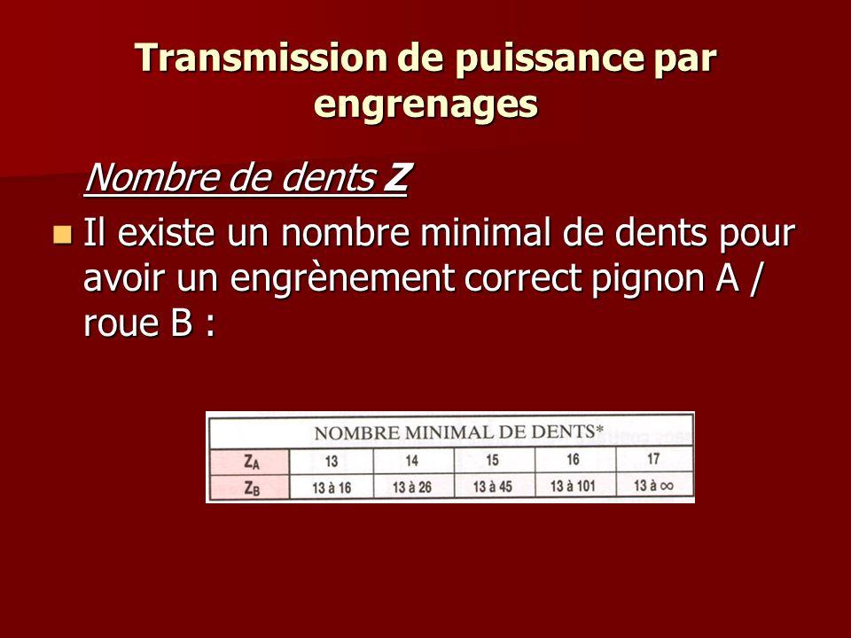 Transmission de puissance par engrenages Nombre de dents Z Il existe un nombre minimal de dents pour avoir un engrènement correct pignon A / roue B : Il existe un nombre minimal de dents pour avoir un engrènement correct pignon A / roue B :