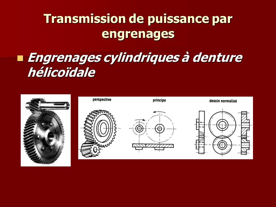 Transmission de puissance par engrenages Compensation de l'effort axial