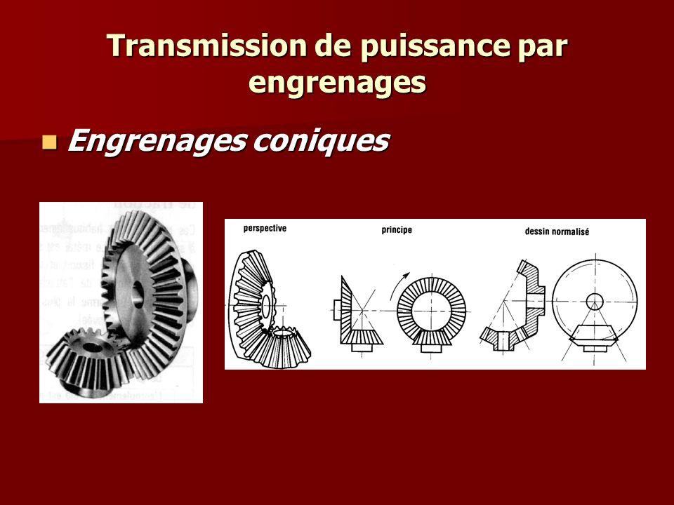 Transmission de puissance par engrenages Engrenages coniques Engrenages coniques