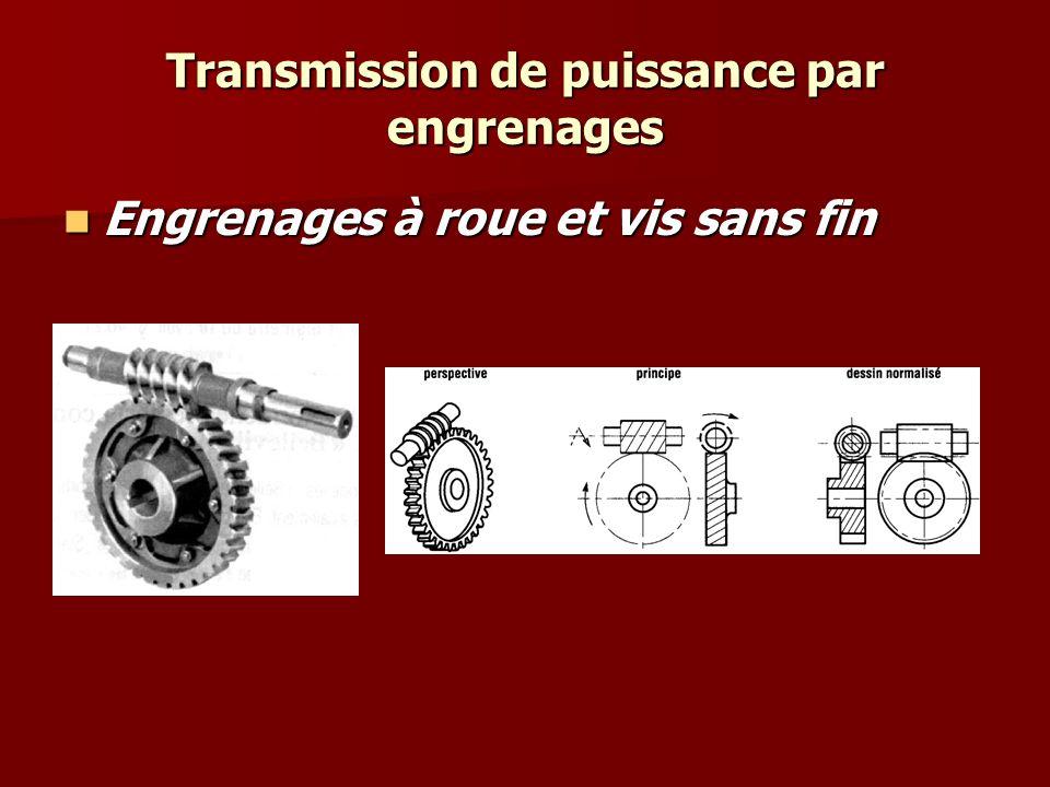Transmission de puissance par engrenages Autres types Engrenages à roue et vis sans fin