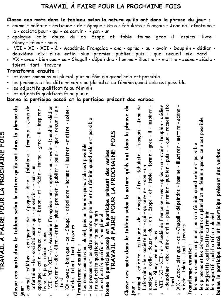 TRAVAIL À FAIRE POUR LA PROCHAINE FOIS Classe ces mots dans le tableau selon la nature qu'ils ont dans la phrase du jour : o animal - célèbre - critiquer - de - époque - être - fabuliste - français - Jean de Lafontaine - le - société pour - qui - se servir - - son - un o apologue - celle - douze - du - en - Ésope - et - fable - forme - grec - il - inspirer - livre - Pilpay - réunir - sous o VII - XI - XII - à - Académie Française - ans - après - au - avoir - Dauphin - dédier - deuxième - dix - élire - enfin - plus - premier - publier - puis - - que - recueil - six - tard o XX - avec - bien que - ce - Chagall - dépeindre - homme - illustrer - mettre - scène - siècle - talent - tant - travers Transforme ensuite : -les noms communs au pluriel, puis au féminin quand cela est possible -les pronoms et les déterminants au pluriel et au féminin quand cela est possible -les adjectifs qualificatifs au féminin -les adjectifs qualificatifs au pluriel Donne le participe passé et le participe présent des verbes TRAVAIL À FAIRE POUR LA PROCHAINE FOIS Classe ces mots dans le tableau selon la nature qu'ils ont dans la phrase du jour : o animal - célèbre - critiquer - de - époque - être - fabuliste - français - Jean de Lafontaine - le - société pour - qui - se servir - - son - un o apologue - celle - douze - du - en - Ésope - et - fable - forme - grec - il - inspirer - livre - Pilpay - réunir - sous o VII - XI - XII - à - Académie Française - ans - après - au - avoir - Dauphin - dédier - deuxième - dix - élire - enfin - plus - premier - publier - puis - - que - recueil - six - tard o XX - avec - bien que - ce - Chagall - dépeindre - homme - illustrer - mettre - scène - siècle - talent - tant - travers Transforme ensuite : -les noms communs au pluriel, puis au féminin quand cela est possible -les pronoms et les déterminants au pluriel et au féminin quand cela est possible -les adjectifs qualificatifs au féminin -les adjectifs qualificatifs au pluriel Donne le participe passé et le par