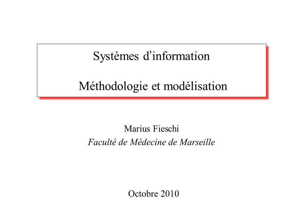 Systèmes d ' information Méthodologie et modélisation Marius Fieschi Faculté de Médecine de Marseille Octobre 2010