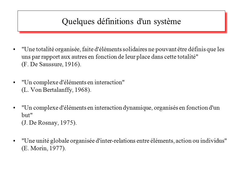 Quelques définitions d un système Une totalité organisée, faite d éléments solidaires ne pouvant être définis que les uns par rapport aux autres en fonction de leur place dans cette totalité (F.