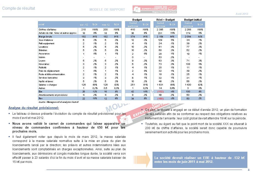 Connu MODELE DE RAPPORT Rapport sur le compte de résultat et la  DQ63