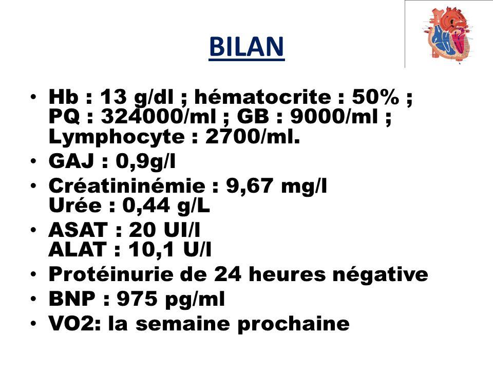 BILAN Hb : 13 g/dl ; hématocrite : 50% ; PQ : 324000/ml ; GB : 9000/ml ; Lymphocyte : 2700/ml.
