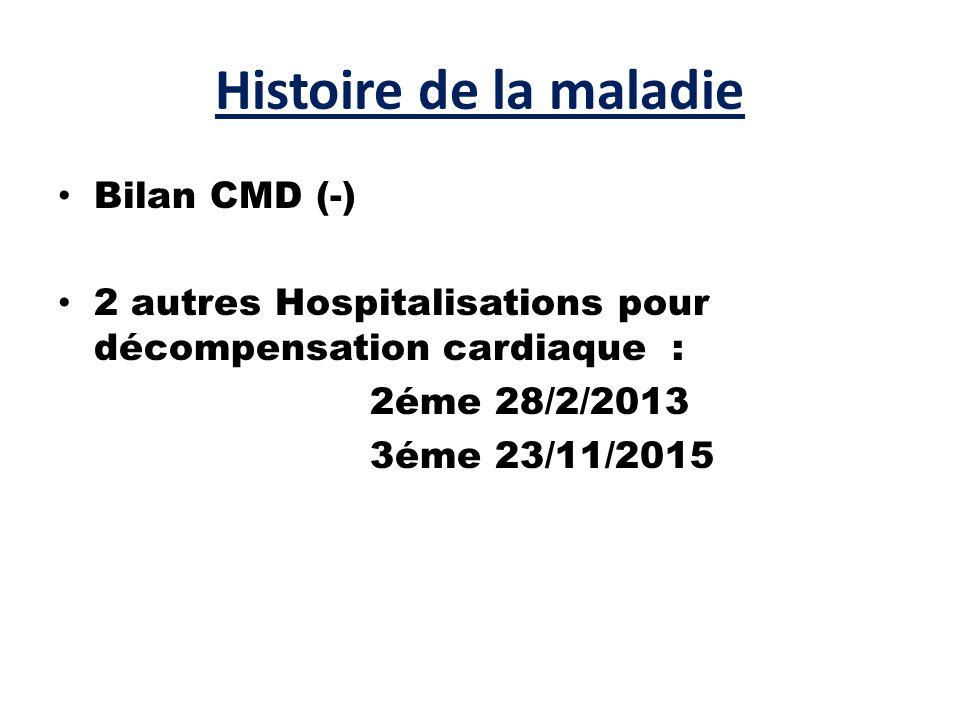 Histoire de la maladie Bilan CMD (-) 2 autres Hospitalisations pour décompensation cardiaque : 2éme 28/2/2013 3éme 23/11/2015
