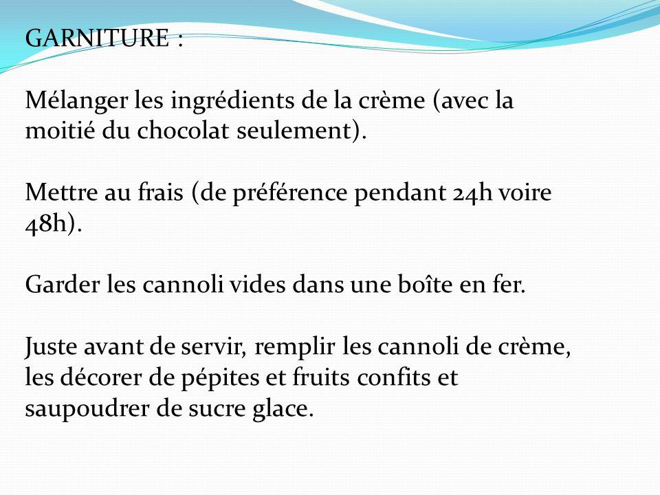 GARNITURE : Mélanger les ingrédients de la crème (avec la moitié du chocolat seulement).
