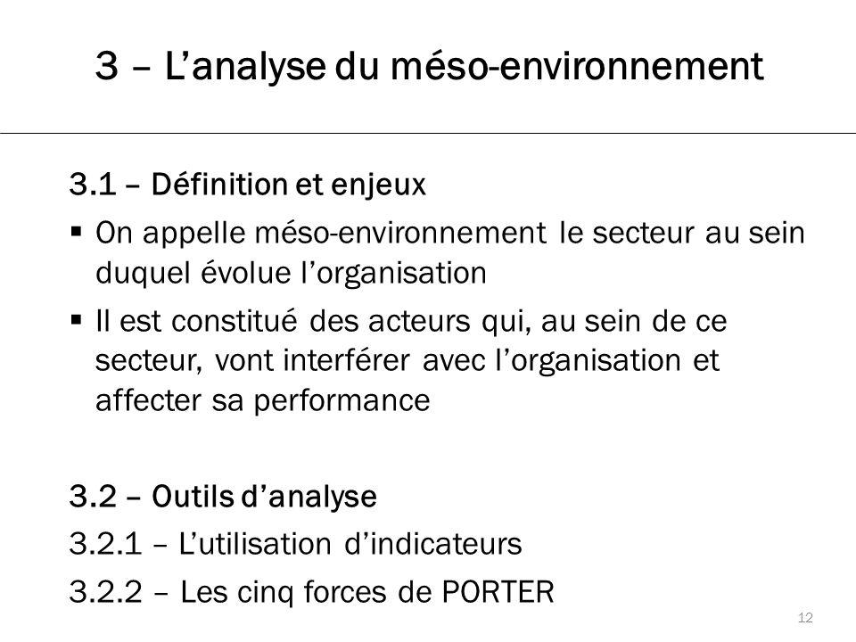 3 – L'analyse du méso-environnement 12 3.1 – Définition et enjeux  On appelle méso-environnement le secteur au sein duquel évolue l'organisation  Il est constitué des acteurs qui, au sein de ce secteur, vont interférer avec l'organisation et affecter sa performance 3.2 – Outils d'analyse 3.2.1 – L'utilisation d'indicateurs 3.2.2 – Les cinq forces de PORTER