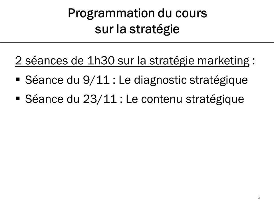 Programmation du cours sur la stratégie 2 séances de 1h30 sur la stratégie marketing :  Séance du 9/11 : Le diagnostic stratégique  Séance du 23/11 : Le contenu stratégique 2