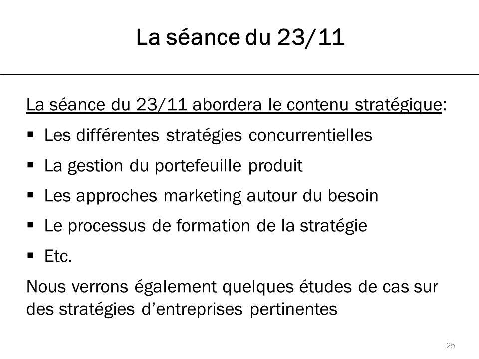 La séance du 23/11 La séance du 23/11 abordera le contenu stratégique:  Les différentes stratégies concurrentielles  La gestion du portefeuille produit  Les approches marketing autour du besoin  Le processus de formation de la stratégie  Etc.