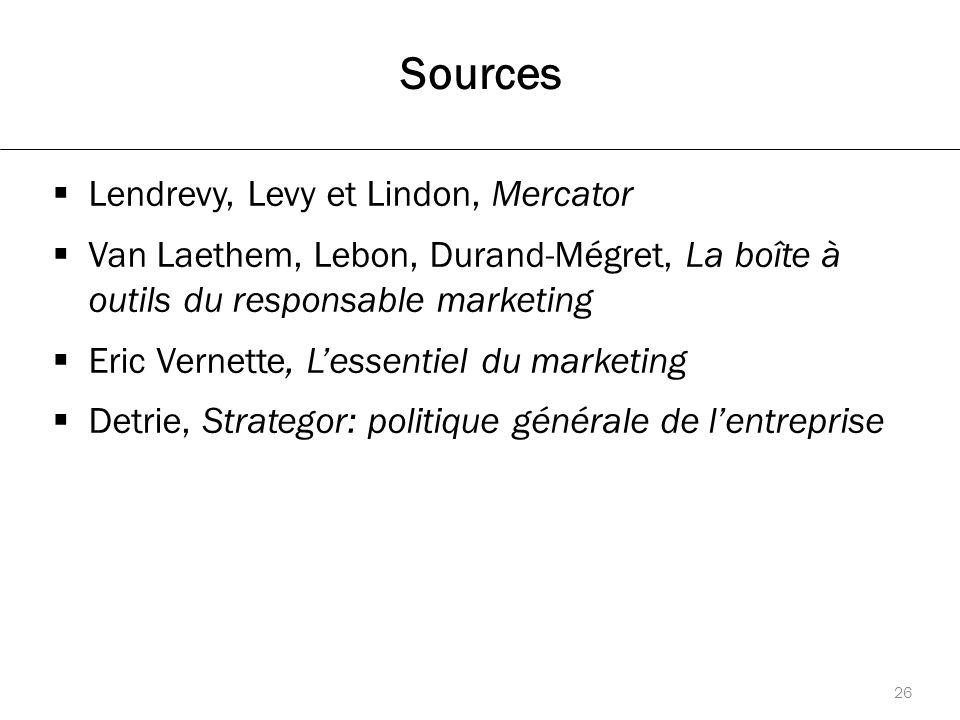 Sources  Lendrevy, Levy et Lindon, Mercator  Van Laethem, Lebon, Durand-Mégret, La boîte à outils du responsable marketing  Eric Vernette, L'essentiel du marketing  Detrie, Strategor: politique générale de l'entreprise 26